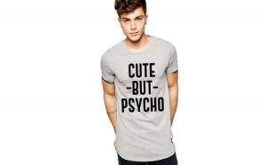 Tricou gri barbati - Cute but PSYCHO